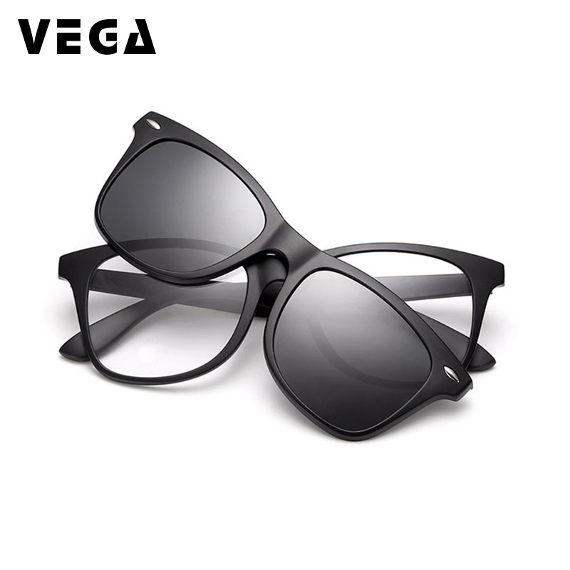 VEGA 2 In 1 Polarized Magnetic Clip On Sunglasses Over Prescription Glasses Men Women Fit Over Magnetic sunglasses 2208