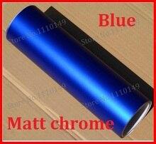 1 UNID de 1.52 M X 50 cm Azul Mate Del Vinilo Del Cromo Película de Vinilo Etiqueta Engomada Del Coche Del Cromo mate Del vinilo Del Coche de Hielo Warp ENVÍO GRATIS