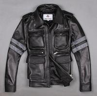 Black Biochemical Crisis M65 Real Leather Jacket Coat Man Short Flight Suit Motorcycle Clothing Special Offer