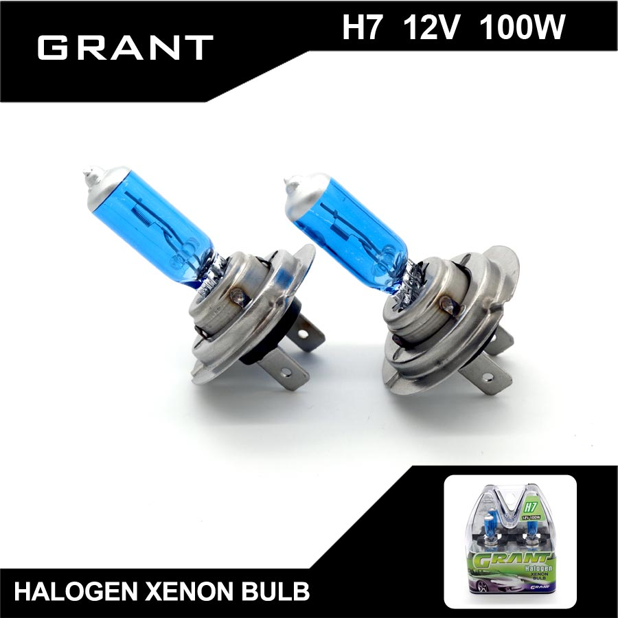 GRANT 2Pcs H7 DC12V 100W 6000K Super White Halogen Xenon Bulbs Auto Headlights Lamps For Ford Benz BMW Audi VW Nissan Mazda lada