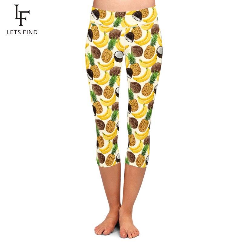 Summer High Waist Women Capri Leggings High Elastic Seamless Fruits Print Plus Size Mid-Calf 3/4 Fitness Legging