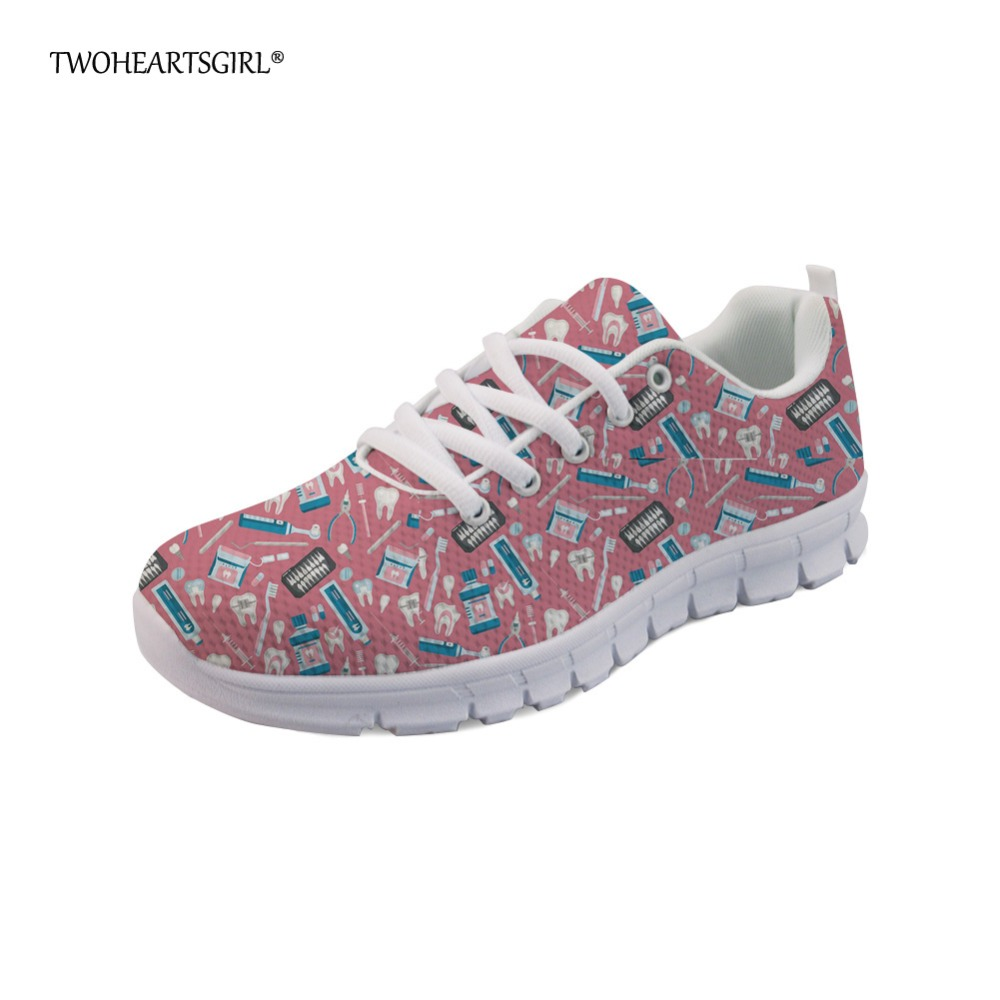 Twoheartsgirl Pink Women Flats Fashion Cartoon Dental Equipment Pattern Sneakers Breathable Comfortable Ladies Mesh Flat Shoes instantarts fashion women flats cute cartoon dental equipment pattern pink sneakers woman breathable comfortable mesh flat shoes