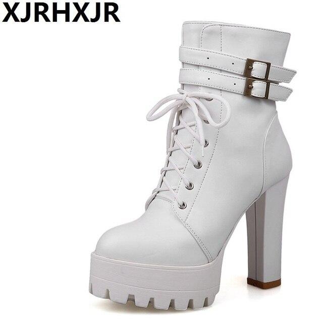 9057b7e829 XJRHXJR negro marrón Color blanco plataforma botas cortas Otoño Invierno tacones  altos mujeres tobillo botas con