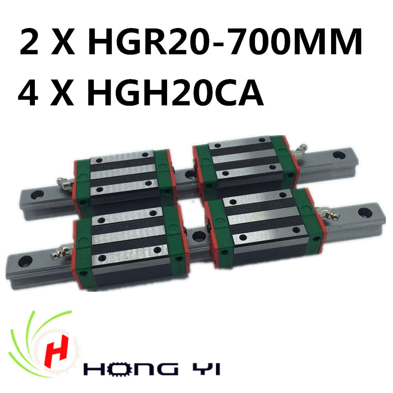 2pcs HIWIN Carril Linear Rail 700mm Linear rails HGR20,+ 4pcs Rail Linear Block HGW20CA HGH20CA for CNC 2pcs hiwin carril linear rail 800mm linear rails hgr20 4pcs rail linear block hgw20ca hgh20ca for cnc