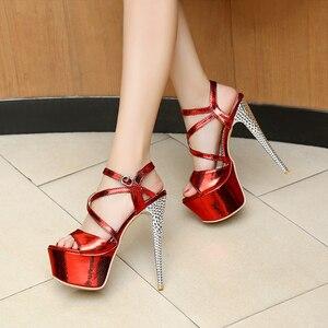 Image 3 - LANYUXUANขนาดใหญ่31 48รองเท้าแตะแพลตฟอร์มสุภาพสตรีแฟชั่นพรรครองเท้าเซ็กซี่เปิดนิ้วเท้าซุปเปอร์ส้นสูง(16เซนติเมตร)รองเท้าผู้หญิงปั๊ม202