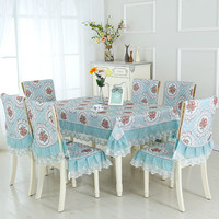 13pcs/set Rectangular Table Cloth Embroidered Floral Tablecloth for Wedding Dining Table Covers with Chair Covers toalha de mesa