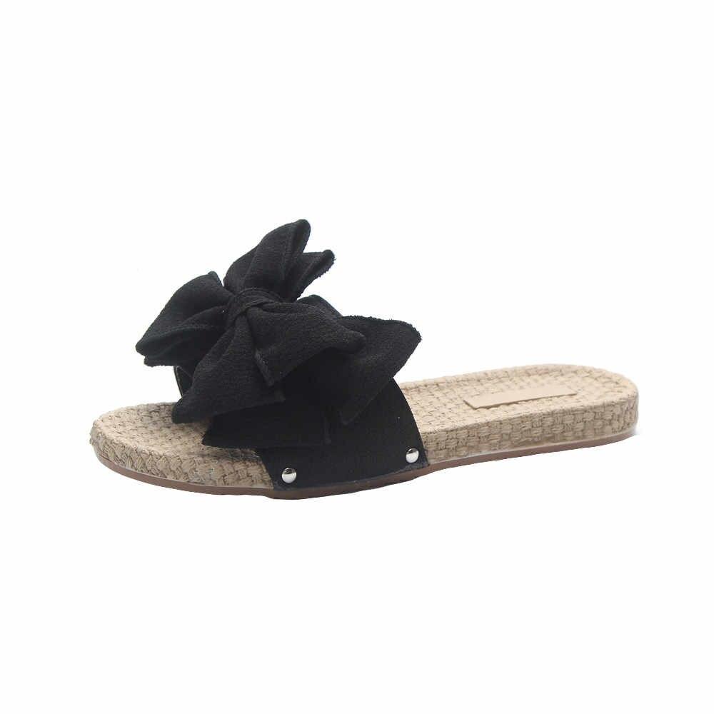 ... New Butterfly Decoration Women Summer Beach Slide Flat Heels Slipper  Woman Rihanna Bohemia Beach Shoes zapatos ... 5ead7d378417