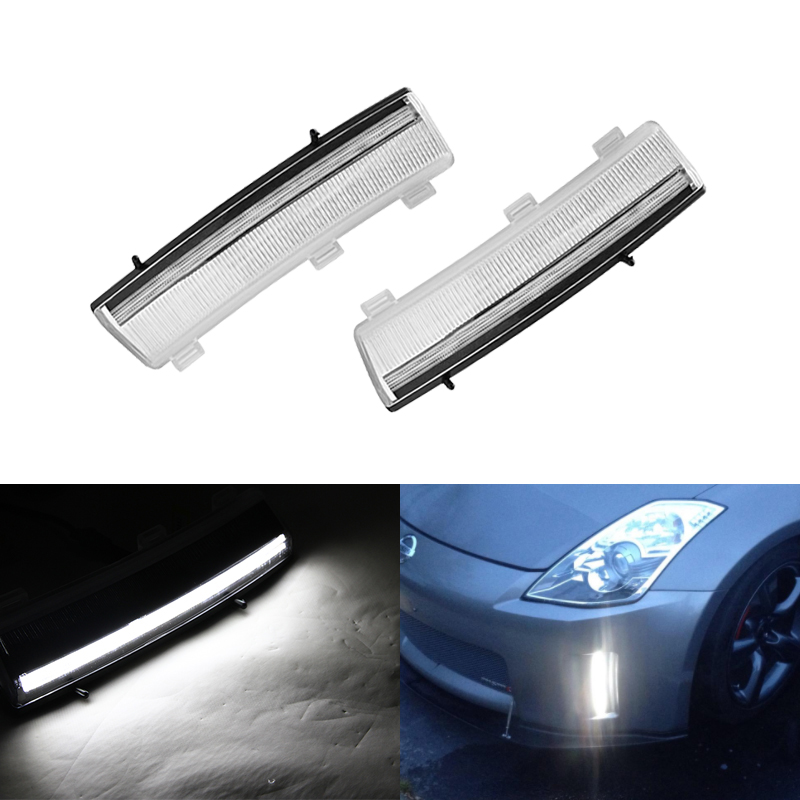 CAN bus Front Bumper Reflector Led DRL Fog Lights Fits For Nissan 350Z LCI 06 09
