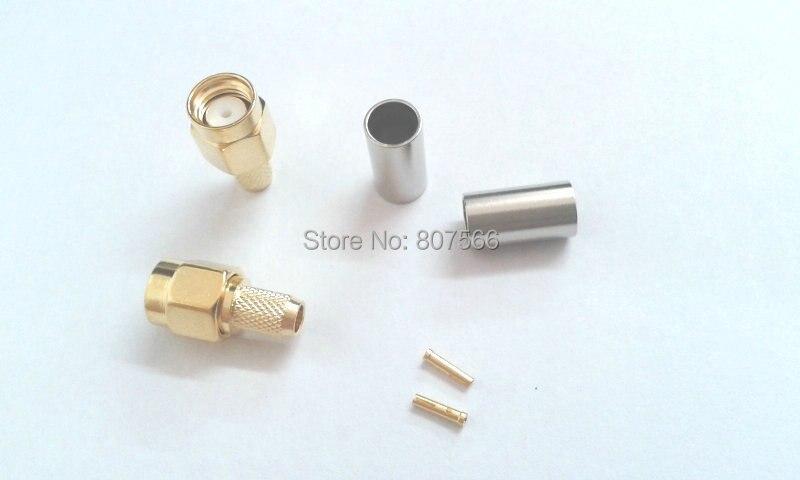 bilder für 200 stücke adapter vergoldet rp-sma-stecker jack für crimp RG58 RG142 LMR195 RF