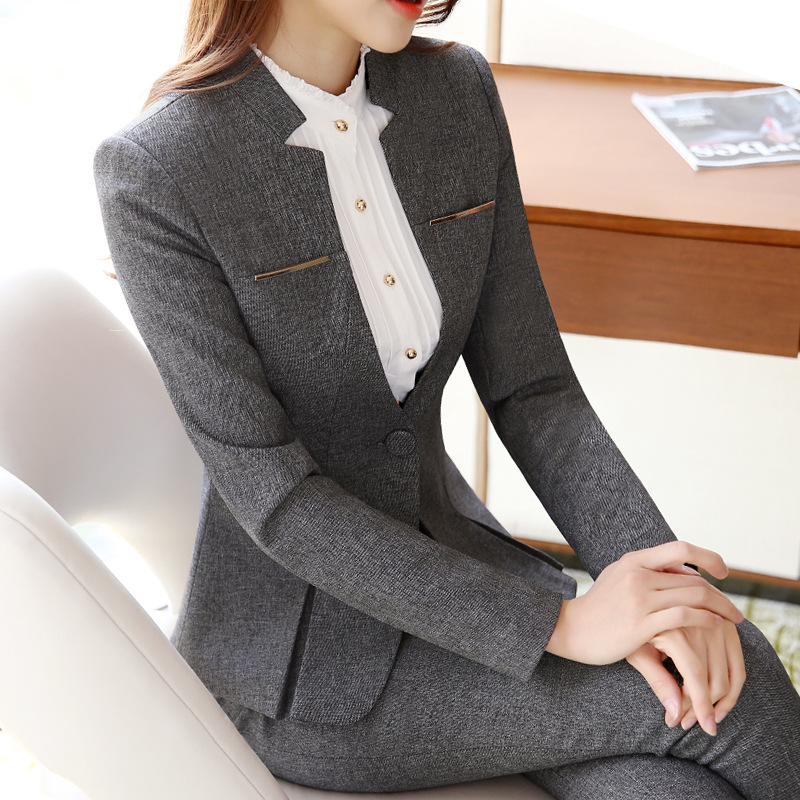 2019 Hot Sale Womens Formal Suits Female Uniform Elegant Business Pants Suits Women Workwear Office Suits Blazers