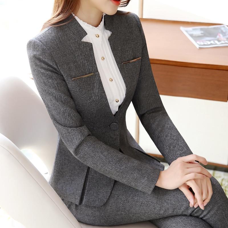 2019 Hot Sale Womens formal suits Female Uniform Elegant Business Pants Suits Women Workwear Office Suits Blazers 57