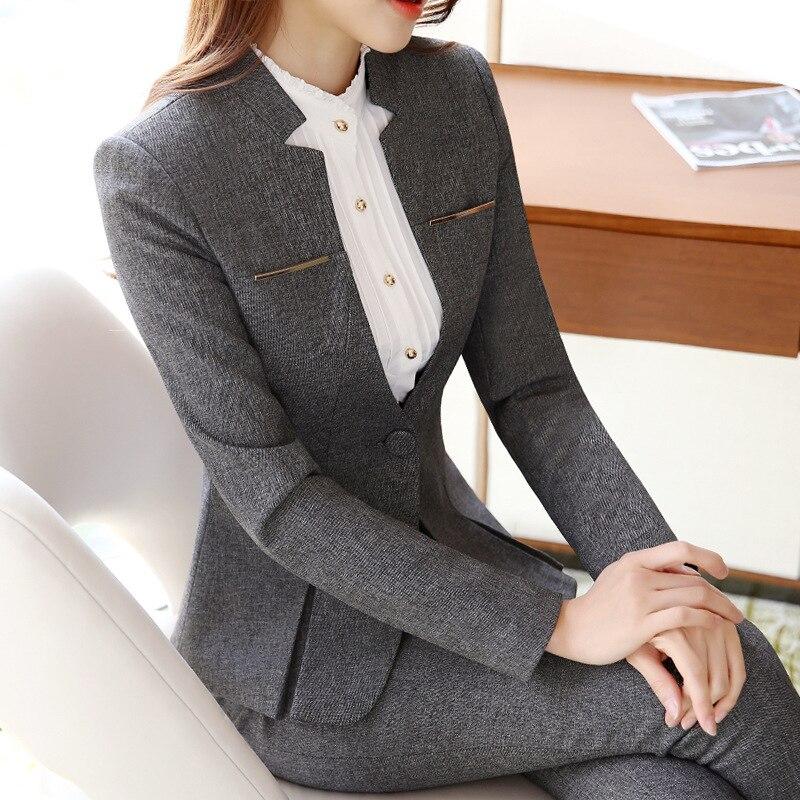 2019 Heißer Verkauf Frauen Formelle Anzüge Weibliche Uniform Elegante Business Hosen Anzüge Frauen Arbeitskleidung Büro Anzüge Blazer