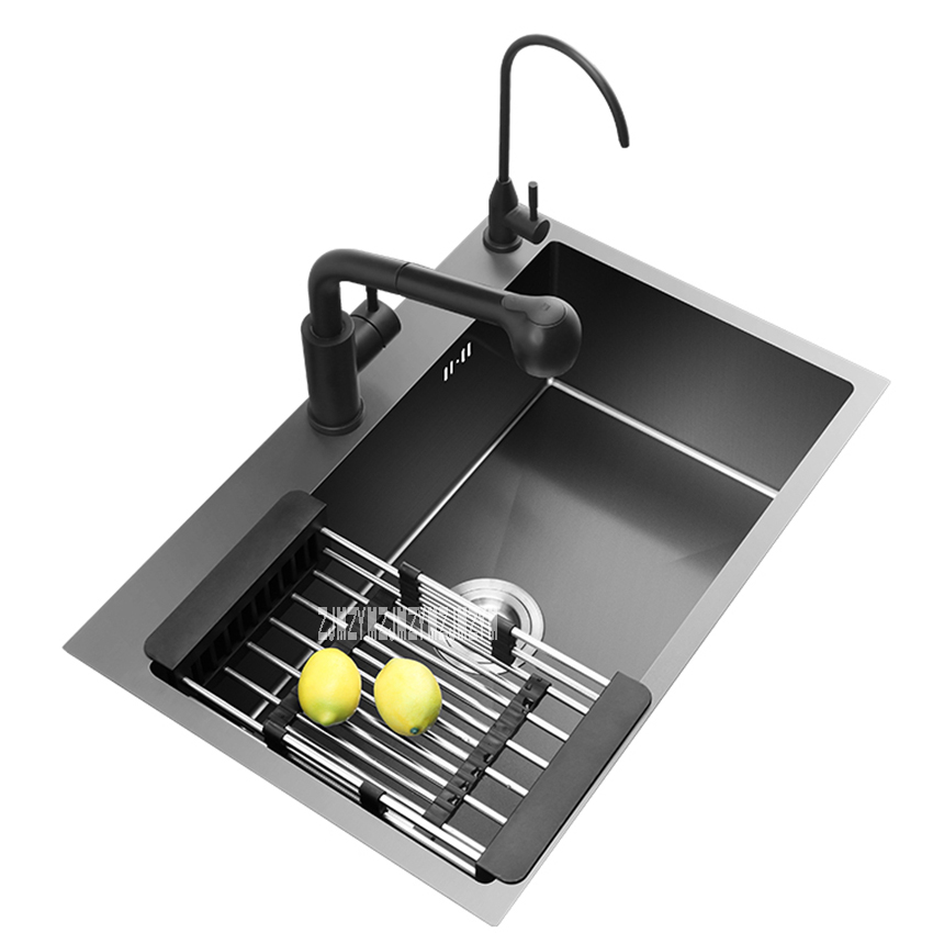 ALM-108 Kitchen Sink Set High-quality 304 Stainless Steel Single Sink Household Vegetable Washing Basin Sink Hot Sale (68*45CM)ALM-108 Kitchen Sink Set High-quality 304 Stainless Steel Single Sink Household Vegetable Washing Basin Sink Hot Sale (68*45CM)
