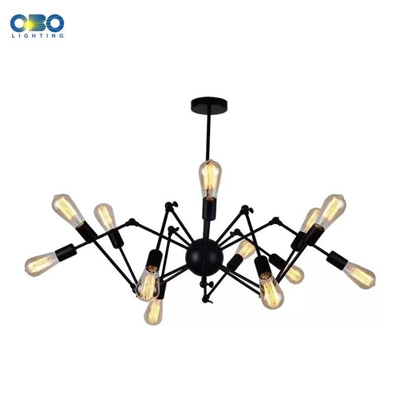 Vintage Chandelier Bra Spider Multiple LED Bulbs Iron Cafe Decorative Lighting Loft Dining Room Models