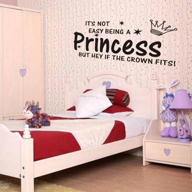 Cute princess crown quotes wall stickers for girl rooms decorations ...