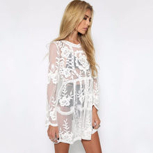 New Summer women floral lace bikini cover up sexy beach wear see through swimsuit with cover-up long sleeve beach dress(China)
