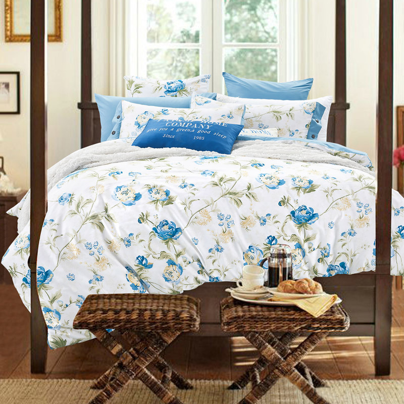 Western Country Style Flowered Bedding Set Queen King Size Bright Color  Deep Purple Light Green. Popular Light Blue Comforter Buy Cheap Light Blue Comforter lots
