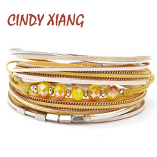 CINDY XIANG New Yellow Color Leather Rope Twisted Bracelets For Women Long Multi-layer Bangles Cuff Summer Jewelry