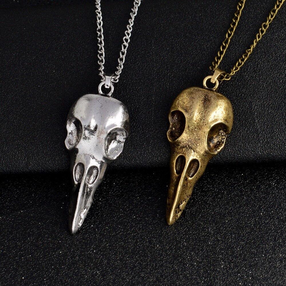 Raven skull Pendant Necklace Bronze Silver Metal Crow head Skull Amulet Rune Men Necklace Fashion Punk Jewelry skull necklace raven skull