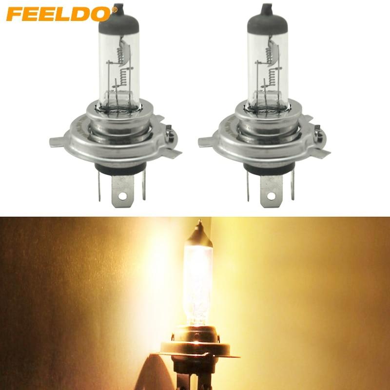 FEELDO 10Pcs Warm White Auto H4 DC 24V 100W Halogen Bulb Truck Bus Headlight Foglight Driving Lamp 3000K #FD-3161