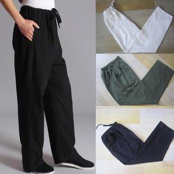 100% Cotton Chinese Traditional Men's Kung Fu Pants Wu Shu Tai Chi Elastic Waist Loose Long Trousers S M L XL XXL XXXL CB0416 tmc df combat pants outdoor training pants s m l xl xxl tmc2649 btc