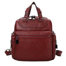 YILIAN fashion Leisure PU knapsack 2018 womens double shoulder bag  backpack multi pocket 1928