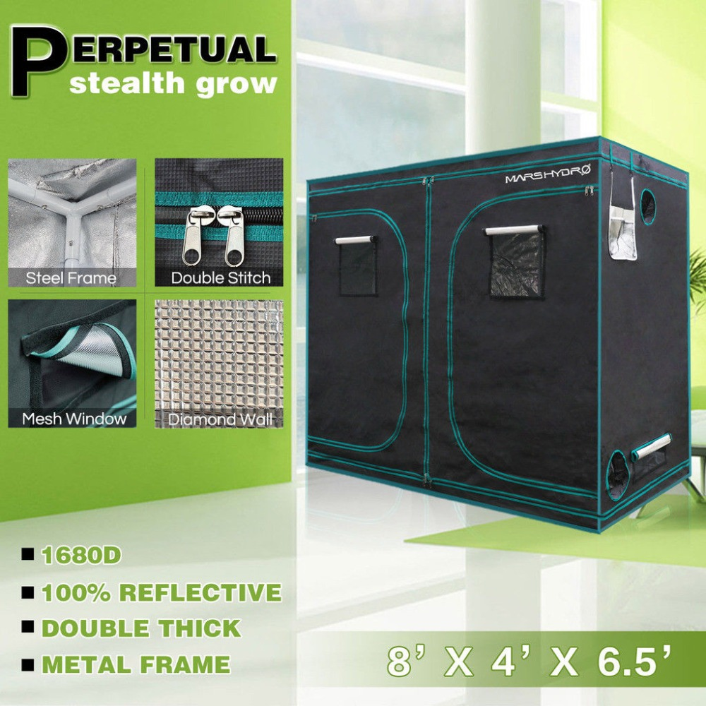 MarsHydro 240x120x200cm ( 96''x48''x80'') Indoor Grow Tent Hydroponic Growing green Room Box 100 Reflective Mylar silver dark