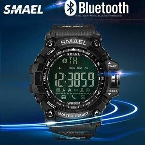 Image 4 - SMAEL dijital saat erkekler Bluetooth akıllı saat su geçirmez 50M büyük arama çağrı hatırlatma uzaktan kamera açık spor kol saati 1617B