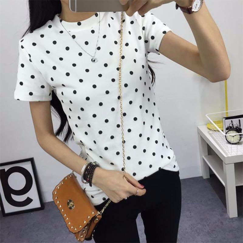 HTB1DnmgLXXXXXcpXVXXq6xXFXXXd - Women's T-Shirt  Polka Black Dotted Clothes Shirt