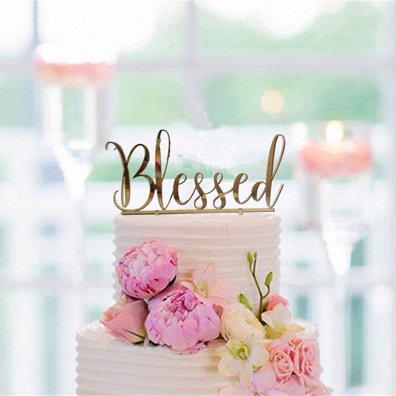 God Bless Acrylic Gold Mirror Christening Baptism Communion Cake Topper