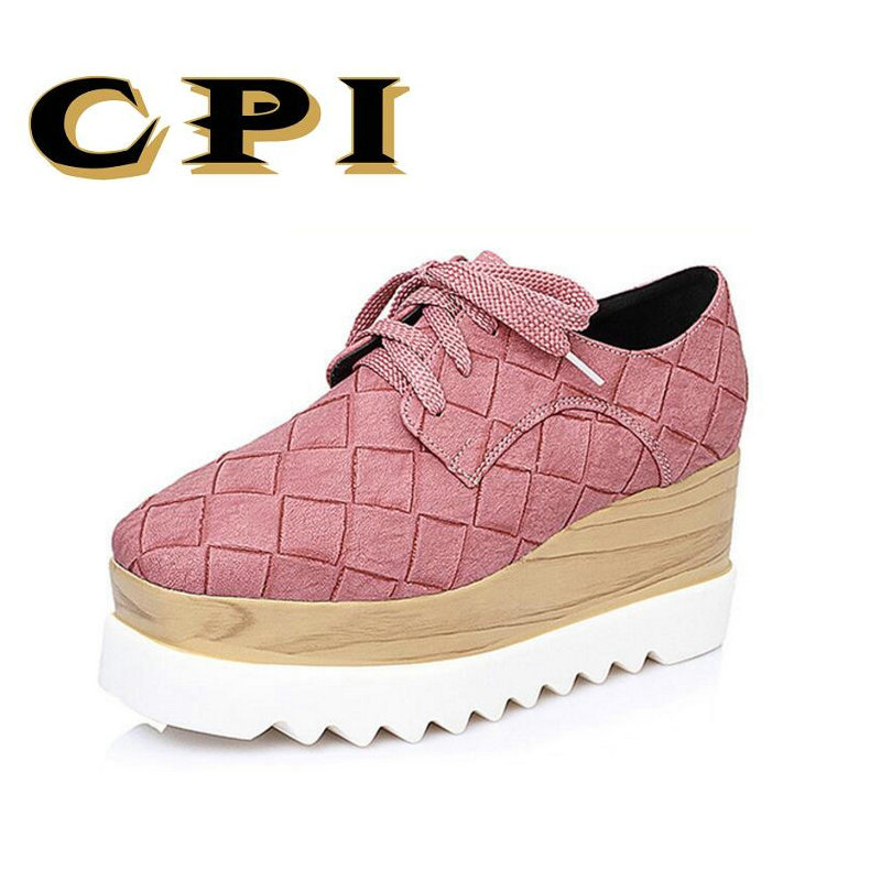 CPI 2018 New spring autumn fashion platform shoes Lace-up casual sweet shallow sneakers women shoes Comfortable shoes NN-020
