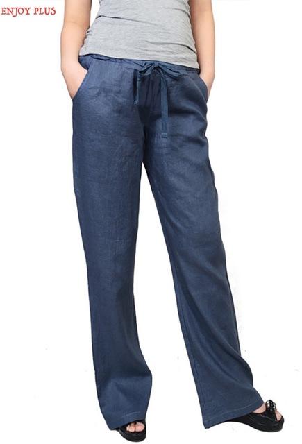 DESFRUTAR de MAIS 10% OFF hip 110-118 cm 2XL-4XL new Linho preto calças azuis mulheres 2016 tamanho grande casual calças retas outono senhora