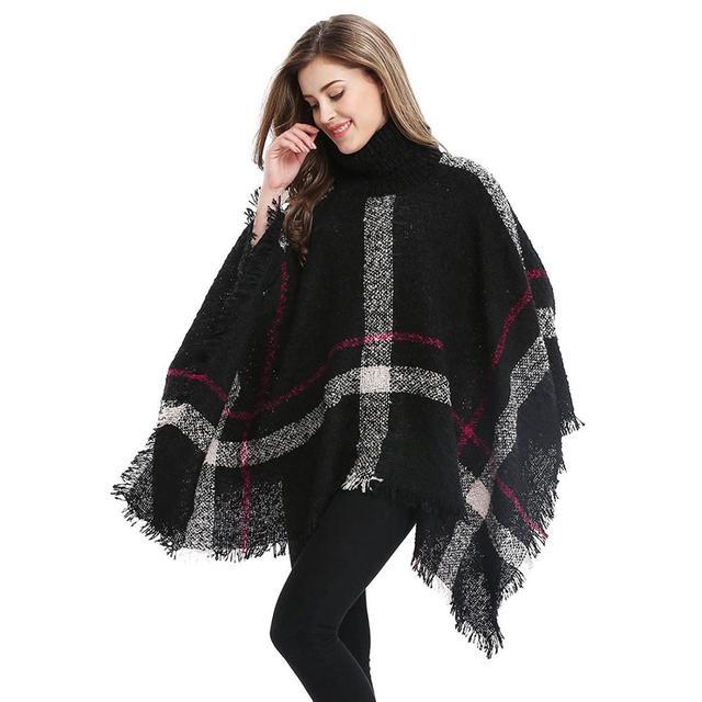 d81f639b6 2017 Autumn and Winter Women Fashion Warm Wool Knit Plaid Turtleneck  Sleeveless Pullovers Cardigan Sweater Poncho