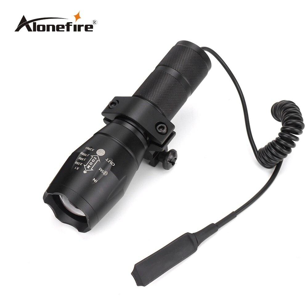 AloneFire G700 Tactical jagd Pistole-licht taschenlampe CREE LED-licht zoomable Wasserdichte Taschenlampe + zielfernrohrmontage + Fernschalter