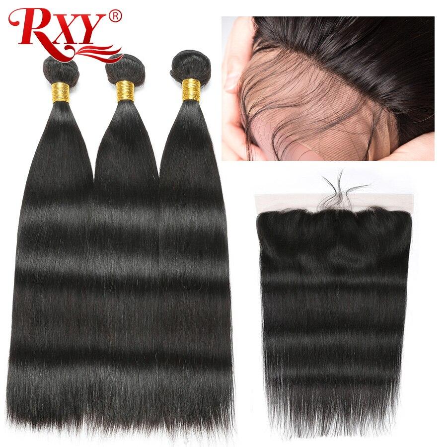 RXY Brazilian Straight Hair Bundles With Frontal Closure 4 13 100 Human Hair Weave 3 Bundles