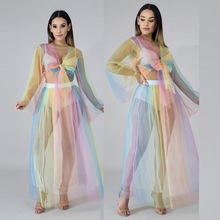 2019 women summer beach rainbow print mesh see if sexy tie top short maxi large swing dress suit 2 pieces set 9038