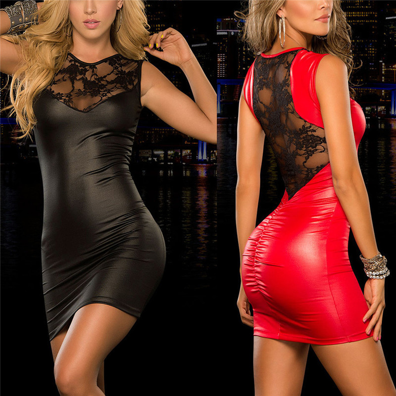 Buy Women Hot Sexy Lingerie PU Leather Lace Patchwork Night Dress Teddy Clubwear Sexy Costumes Erotic Lingerie Babydoll Nightgown