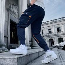 Outdoor 2019 spring autumn elastic waist multi pocket patchwork track harem pantd men loose 100% cotton Cargo trousers