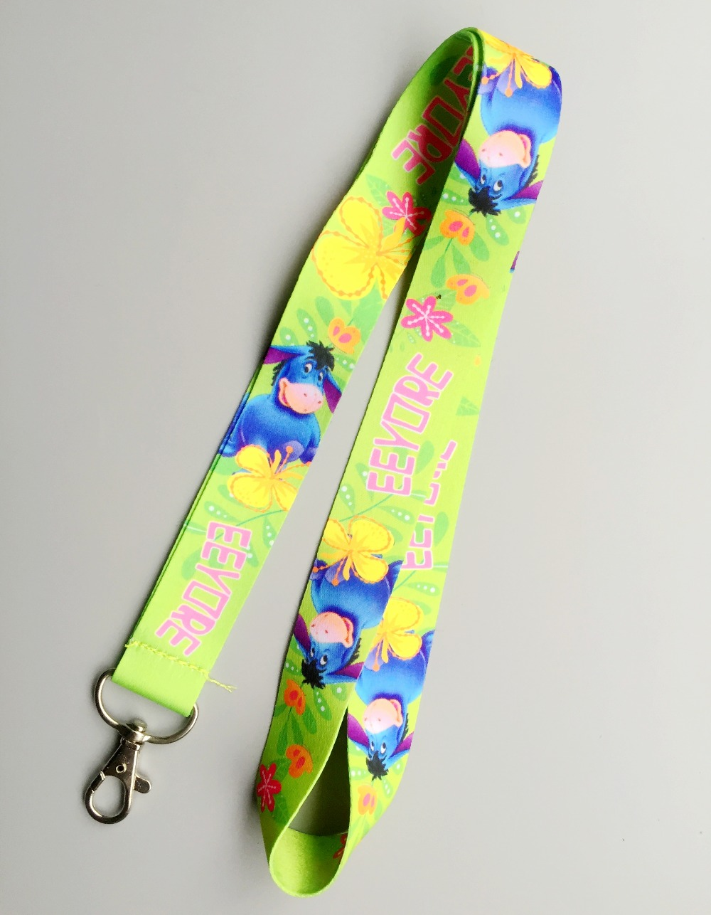 1pcs Cartoon Eeyore Green Key Lanyard Badge ID Cards Holders Neck Straps With Keyring Gifts Party Favors