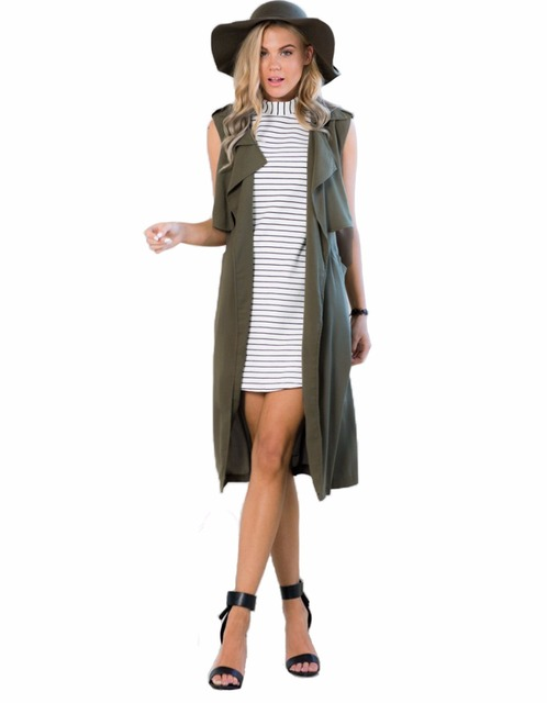 3b0a869c45c New 2016 Women s Autumn Sleeveless Long Vest Cool Army Green Long Section  Lapel Vest Outerwear for