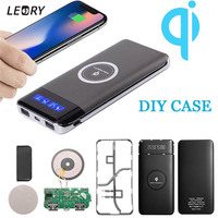 10000mAh 2 in 1 DIY Bank Case Qi Wireless Charger Dock Case Phone Charger Pad Case + LED Light USB Type-c External Battery Pack usb battery bank charger