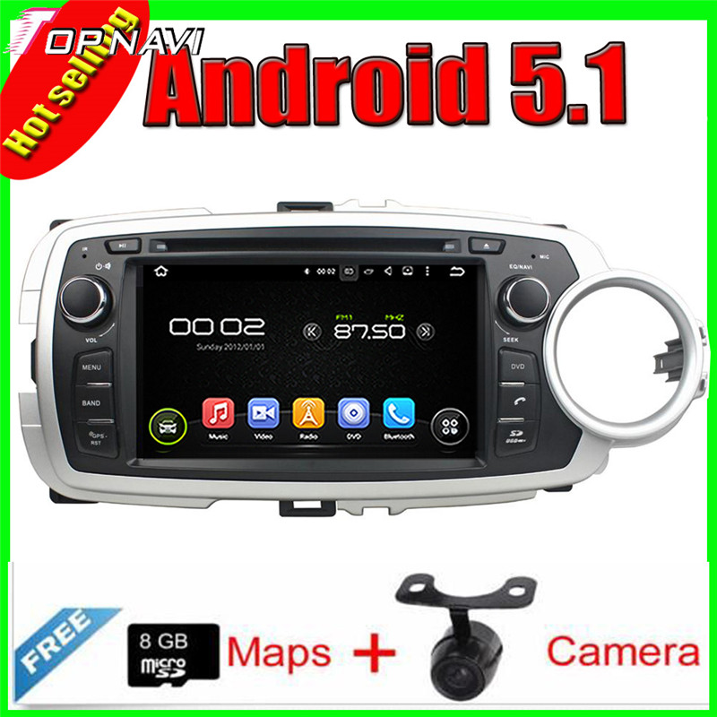 "7"" Quad Core Android 5.1 Car GPS For  Toyota YARIS 2012-2013 With Radio Multimedia Video Mirror Link 16GB Flash Free Shipping"