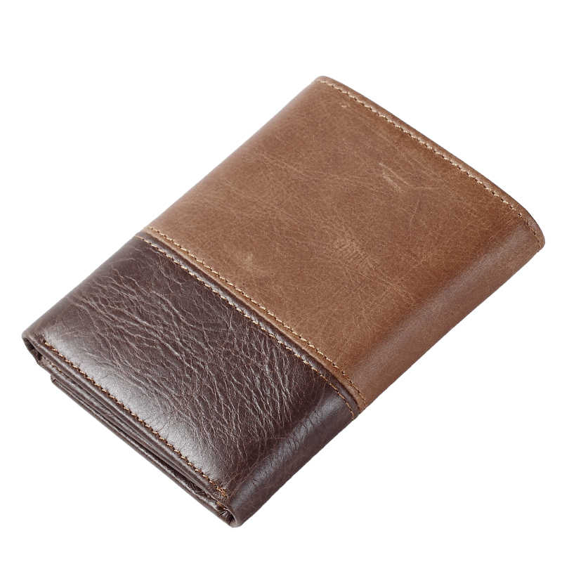 58b78d8fe4f0 Genuine Leather Wallet For Men's Trifold Men Wallets ID Window Credit Card  Case Holder Hasp Casual Men's Slim Wallet Credit Card