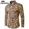 New 2017 Spring Mens Casual Floral Shirts Long Sleeve Cotton Brand Clothing Printed Plus Size Men Dress Shirt Slim Fit