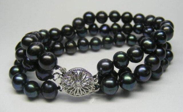 """3 ROWS 7-8MM AA+ Black Akoya Cultured Pearl Bracelet 7.5"""" >bead charm body jewelry charm jewelry"""