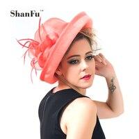 ShanFu Dames Plume Fascinators Saison de Course Chapeaux Sinamay Chapeaux De Mariage pour Cocktail Ivoire Corail SFH9144