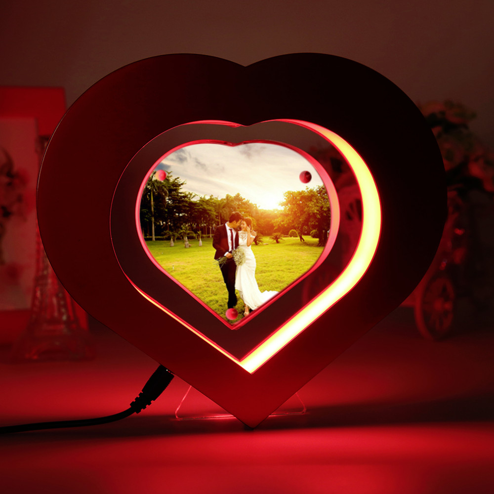 2016 New Floating Photo Frame LED Light Red Heart Shaped Magnetic ...
