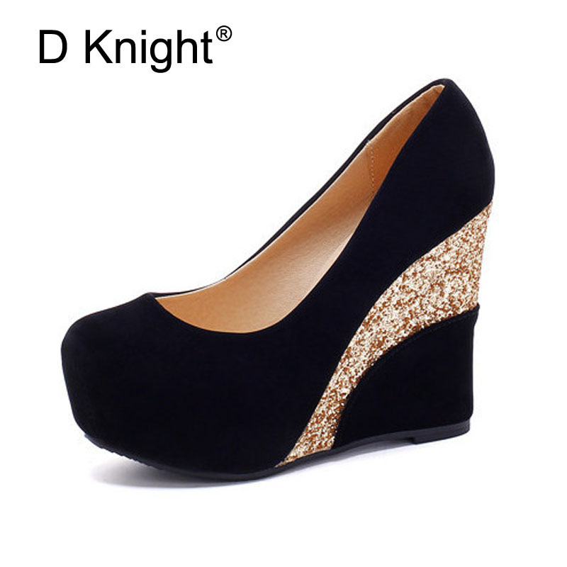 213c40996ef New Women Casual Platform Wedges Shoes Vintage Flock Glitter Patchwork High  Heels Women Shoes Ladies Slip on Wedge Wedding Shoes-in Women s Pumps from  Shoes ...