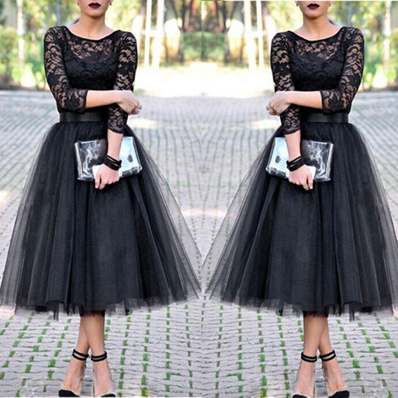 Women Lace Patchwork Ball Gown Dresses Tulle Tutu Mid-Calf Dresses Elegant Party O-neck High Waist Vestidos Summer Dress