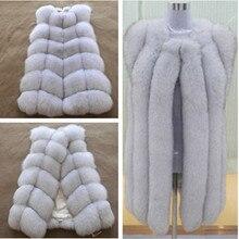 hot new 2016 100% natural fox fur long vest  Real Fox fur vest luxury  fur jacket Winter waistcoat women' s coat long style